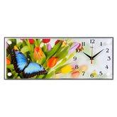 """5020-937 (5) Часы настенные """"Тюльпаны и бабочка"""""""