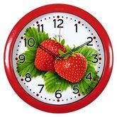 """6026-230 (10) Часы настенные круг d=29см, корпус красный""""Пара клубник"""" """"Рубин"""""""