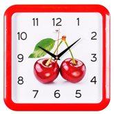 """7667-244 (10) Часы настенные квадрат 29х29см, корпус красный """"Вишня с листом"""" """"Рубин"""""""